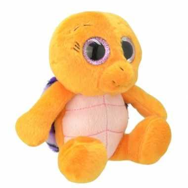 Pluche schildpad knuffeldier oranje paars 30 cm