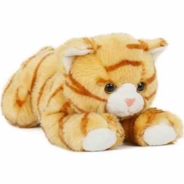 Pluche speelgoed poes kat knuffeldier oranje 25 cm