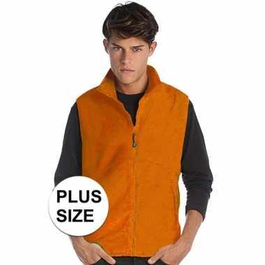 Plus size mouwloze fleece sport vesten oranje voor heren