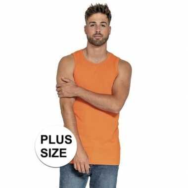 Plus size oranje heren tanktop/singlet basic hemden