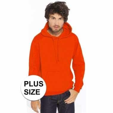 Plus size oranje heren truien/sweaters met hoodie/capuchon