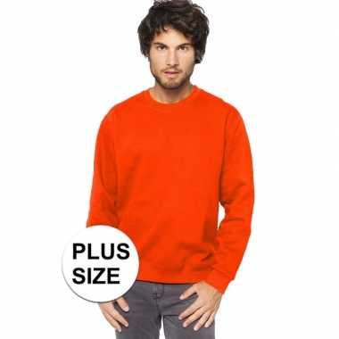 Plus size oranje heren truien/sweaters met ronde hals