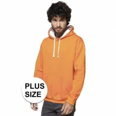 Plus size oranje/witte heren truien/sweaters met hoodie/capuchon