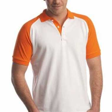 Poloshirt wit met oranje mouwen