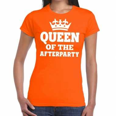 Queen of the afterparty shirt oranje dames