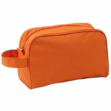 Reis toilettas/etui oranje met handvat 21,5 cm voor heren/dames