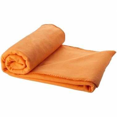 Reisdeken oranje met tasje 150 cm