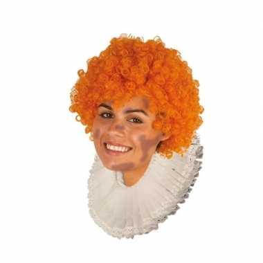 Roetveeg zwarte pieten pruik oranje