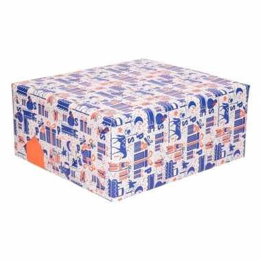 Rol met blauw/wit/oranje sinterklaas inpak papier