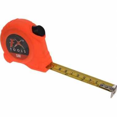 Rolmaat oranje met broekklem 500 cm