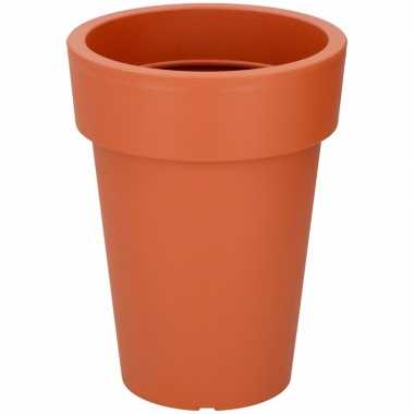 Ronde hoge oranje kunststof plantenpot 24 cm