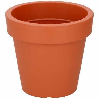 Ronde oranje kunststof plantenpot 19 cm