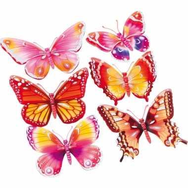 Roze oranje 3d kinderkamer vlinder stickers 6 stuks