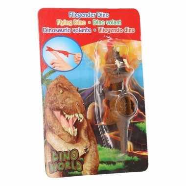 Rubberen oranje speelgoed dino world vingerpoppetje triceratops