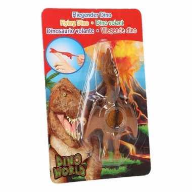Rubberen speelgoed dino world oranje vingerpoppetje pterosauri?rs