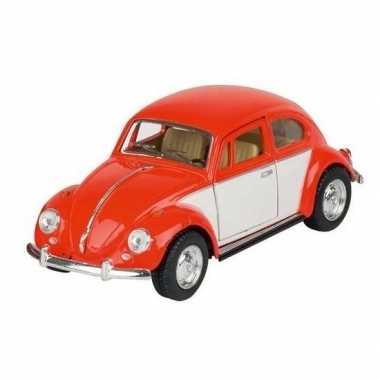 Schaalmodel volkswagen kever two-tone oranje/wit 13 cm