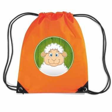 Schaap dieren trekkoord rugzak gymtas oranje voor kinderen