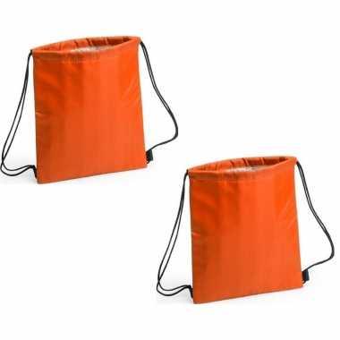 Set van 2x stuks oranje koeltas rugzak/gymtas 27 x 33 cm met drawstring/rijgkoord