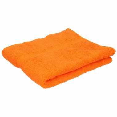 Set van 6x stuks badkamer/douche handdoeken oranje 50 x 90 cm