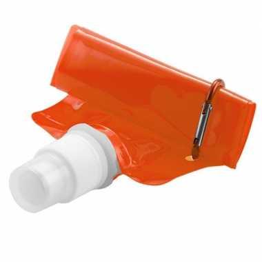 Set van 6x stuks oranje waterzak 400 ml opvouwbaar met haakje