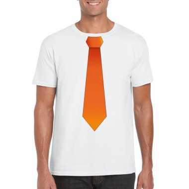 Shirt met oranje stropdas wit heren