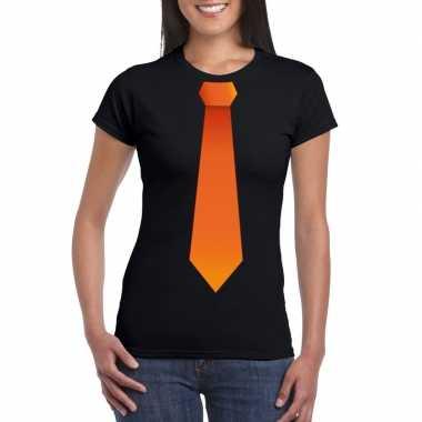 Shirt met oranje stropdas zwart dames