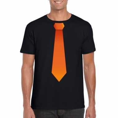 Shirt met oranje stropdas zwart heren