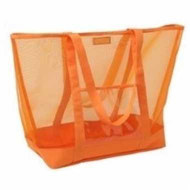 Shopper strandtas klittenbandsluiting oranje 38 cm