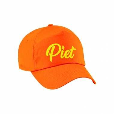 Sinterklaas verkleed pet/cap piet oranje voor dames en heren