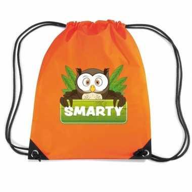 Smarty de uil trekkoord rugzak / gymtas oranje voor kinderen