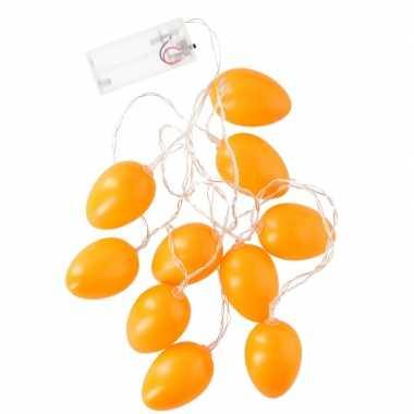 Snoer met 10 oranje led paaseieren
