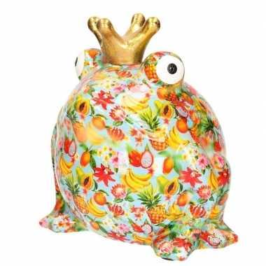 Spaarpot kikker oranje met bloemenprint en gouden kroon 28 cm