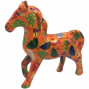 Spaarpot paard oranje/gekleurde paraplu print 21 cm