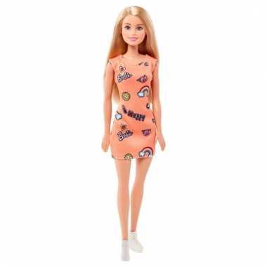 Speelgoed barbie trendy pop met oranje/roze jurkje en blond haar