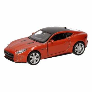Speelgoed jaguar f-type coupe oranje autootje 12 cm