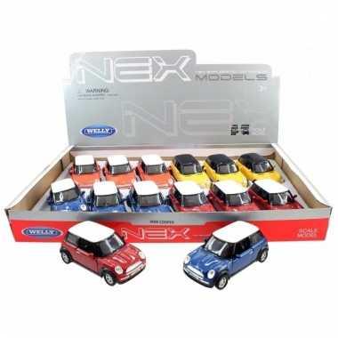 Speelgoed mini cooper oranje welly autootje 11 cm