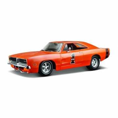 Speelgoedauto dodge charger rt 1969 oranje 1:24/21 x 8 x 6 cm