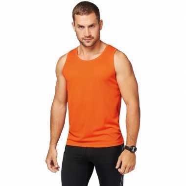 Sportkleding sneldrogend oranje singlet voor heren