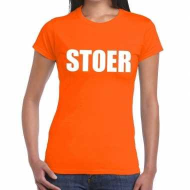 Stoer fun t-shirt oranje voor dames
