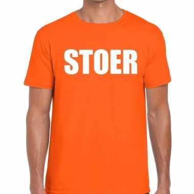 Stoer fun t-shirt oranje voor heren
