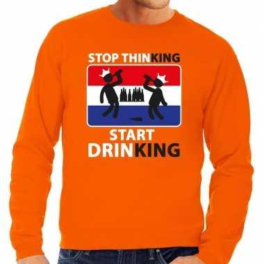 Stop thinking start drinking sweater oranje heren