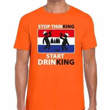 Stop thinking start drinking t-shirt oranje heren