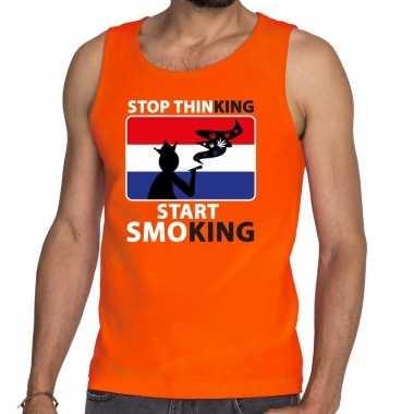 Stop thinking start smoking tanktop / mouwloos shirt oranje heren