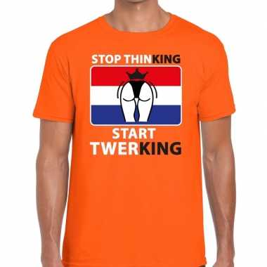Stop thinking start twerking t-shirt oranje heren