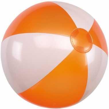 Strandbal opblaasbaar oranje/wit
