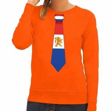 Stropdas holland sweater oranje dames