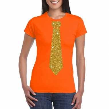 Stropdas t-shirt oranje met glitter das dames