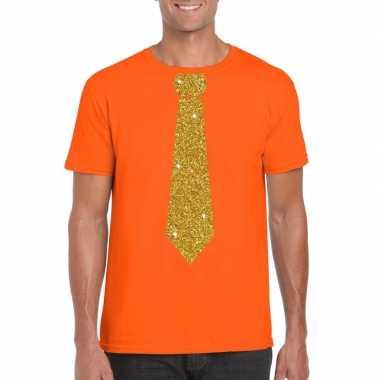 Stropdas t-shirt oranje met glitter das heren