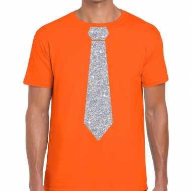Stropdas t-shirt oranje met zilveren glitter das heren