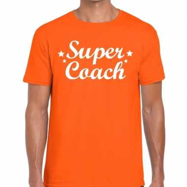 Super coach fun t-shirt oranje voor heren bedankt cadeau voor een coach